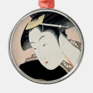 Portrait of beauty Shinobu Kitagawa Utamaro geisha Silver-Colored Round Ornament