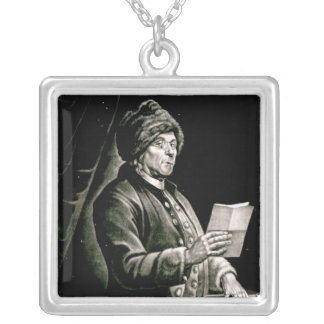 Portrait of Benjamin Franklin, 1777 Silver Plated Necklace