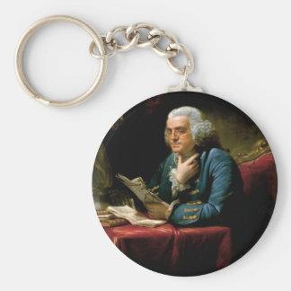 Portrait of Benjamin Franklin Basic Round Button Keychain