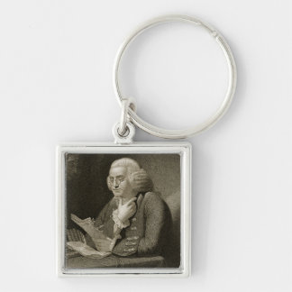 Portrait of Benjamin Franklin, engraved by Thomas Silver-Colored Square Keychain