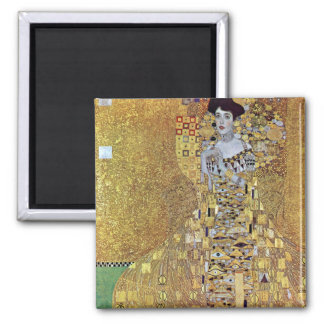 Portrait of Block-Bauer 2 by Gustav Klimt Square Magnet