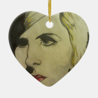 Portrait of Blond Ceramic Heart Ornament