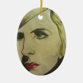 Portrait of Blond Ceramic Oval Ornament