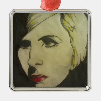 Portrait of Blond Silver-Colored Square Ornament