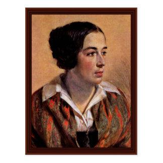 Portrait Of Caroline Arnold By Menzel Adolph Von Postcard