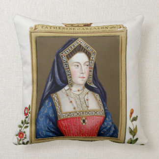 Portrait of Catherine of Aragon (1485-1536) 1st Qu Throw Pillows