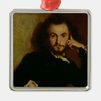 Portrait of Charles Baudelaire  1844 Silver-Colored Square Ornament