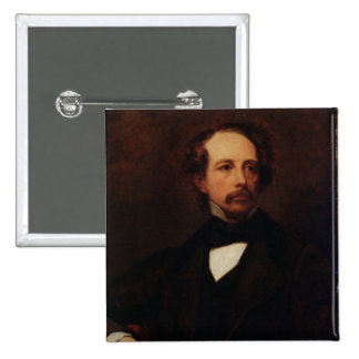 Portrait of Charles Dickens  1855 2 Inch Square Button