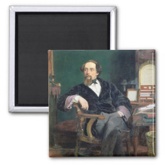 Portrait of Charles Dickens (oil on canvas) Magnet