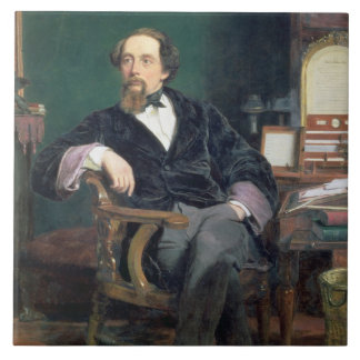 Portrait of Charles Dickens (oil on canvas) Tile