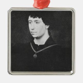 Portrait of Charles the Bold Silver-Colored Square Ornament