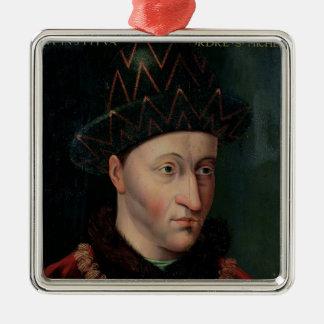 Portrait of Charles VII Silver-Colored Square Ornament