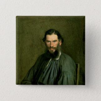 Portrait of Count Lev Nikolaevich Tolstoy  1873 2 Inch Square Button