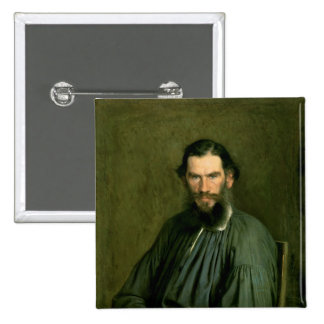 Portrait of Count Lev Nikolaevich Tolstoy  1873 2 Inch Square Button