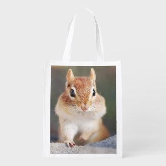 Portrait of Cute Chipmunks Reusable Grocery Bag