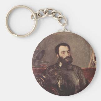 Portrait of Duke of Urbino Basic Round Button Keychain
