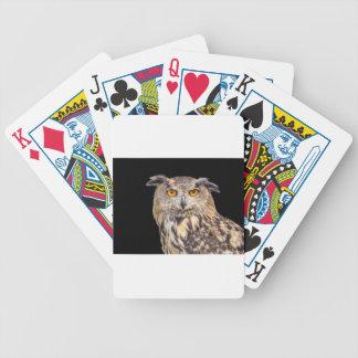 Portrait of eagle owl on black background poker deck