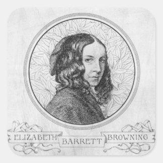 Portrait of Elizabeth Barrett Browning Square Sticker