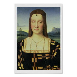 Portrait of Elizabeth Gonzaga, c.1504 (oil on pane Poster