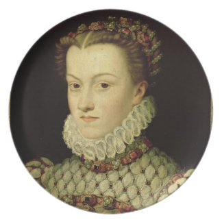 Portrait of Elizabeth of Austria (1554-92) Queen o Plate