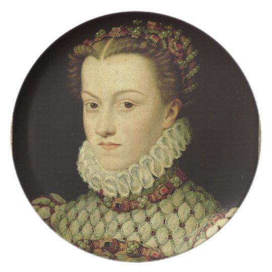 Portrait of Elizabeth of Austria (1554-92) Queen o Plate