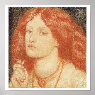Portrait of Elizabeth Siddal (1834-62), 1860 (red Poster