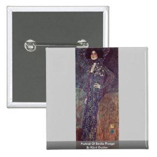 Portrait Of Emilie Floege By Klimt Gustav 2 Inch Square Button