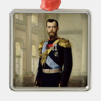 Portrait of Emperor Nicholas II, 1900 Metal Ornament