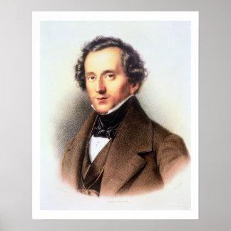 Portrait of Felix Mendelssohn (1809-47) (litho) Poster