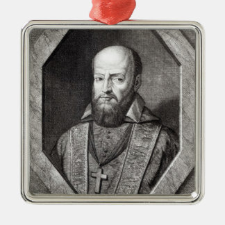 Portrait of Francois de Sales Silver-Colored Square Ornament