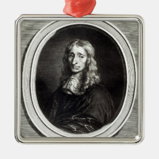Portrait of Francois Mansart Silver-Colored Square Ornament