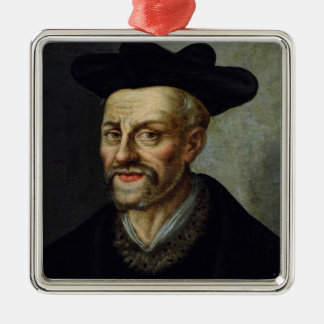 Portrait of Francois Rabelais Silver-Colored Square Ornament