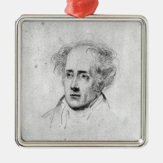 Portrait of Francois Rene Vicomte de Silver-Colored Square Ornament