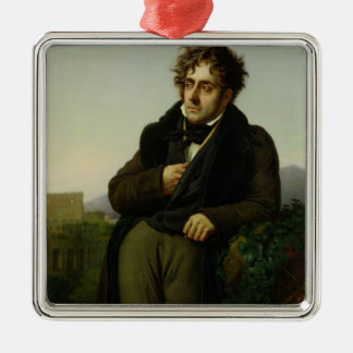 Portrait of Francois Rene  Vicomte Silver-Colored Square Ornament
