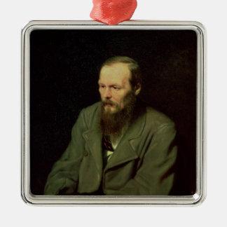 Portrait of Fyodor Dostoyevsky  1872 Silver-Colored Square Ornament