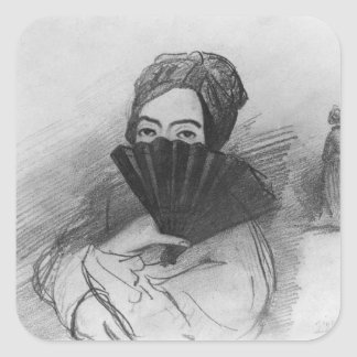Portrait of George Sand  behind her fan Square Sticker