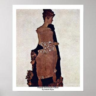 Portrait Of Gertrude Schiele By Schiele Egon Poster