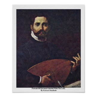 Portrait Of Giovanni Gabrieli With The Lute Poster