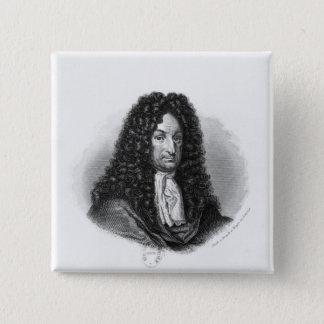 Portrait of Gottfried Wilhelm  Baron de Leibniz 2 Inch Square Button