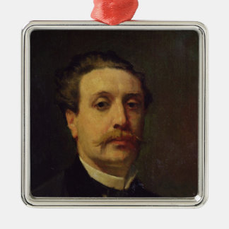Portrait of Guy de Maupassant  1876 Silver-Colored Square Ornament
