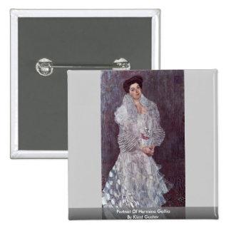 Portrait Of Hermine Gallia By Klimt Gustav Pinback Buttons