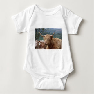 portrait of Highland Cattle Baby Bodysuit