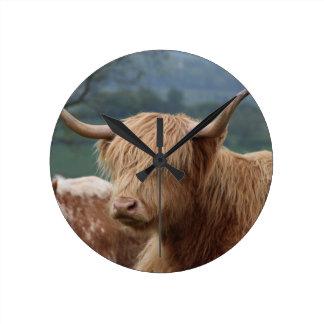 portrait of Highland Cattle Round Clock