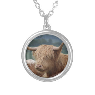 portrait of Highland Cattle Silver Plated Necklace