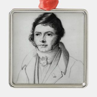 Portrait of Jean-Francois Champollion , 1830 Silver-Colored Square Ornament