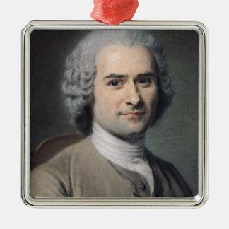Portrait of Jean Jacques Rousseau Silver-Colored Square Ornament