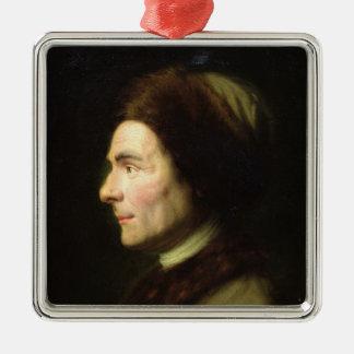 Portrait of Jean-Jacques Rousseau Silver-Colored Square Ornament