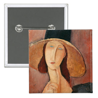 Portrait of Jeanne Hebuterne in a large hat 2 Inch Square Button