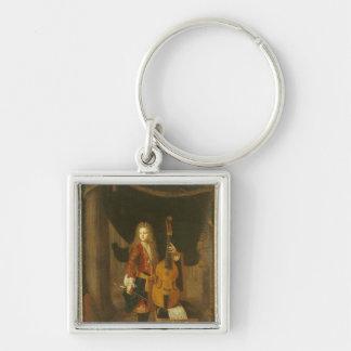 Portrait of Johann Schenck Silver-Colored Square Keychain