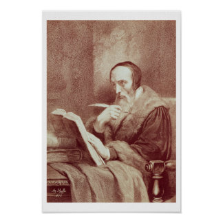 Portrait of John Calvin (1509-1564) (engraving) Poster